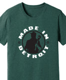 Made In Detroit Wrenchman design printed on Heather Forest Blend T-shirt