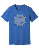 Detroit Shifter Grey Print on Royal Heather T-shirt. Made In Detroit.