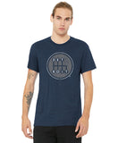 Detroit Shifter Grey Print on True Heather Navy T-shirt. Made In Detroit.