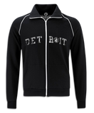 Made In Detroit College Arch Print on front of black track jacket
