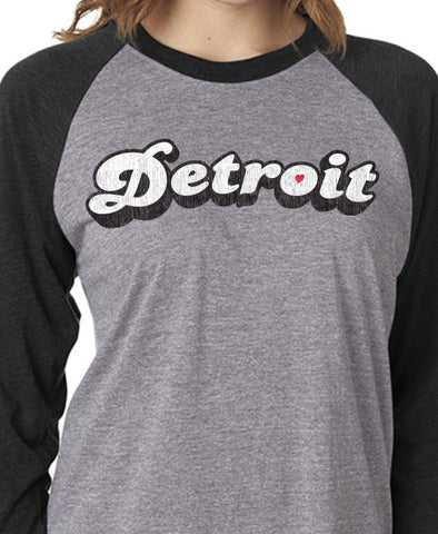 Retro Detroit Bubble -  Women's - Triblend 3/4-Sleeve Raglan- Vintage Black and Heather
