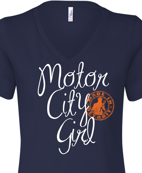 Motor City Girl - Missy V-Neck - Navy