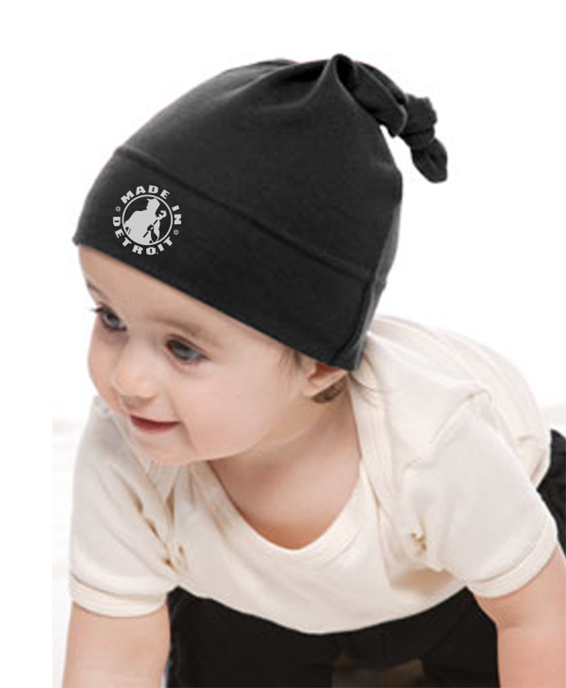 Organic Infant Cap - MID Black with White