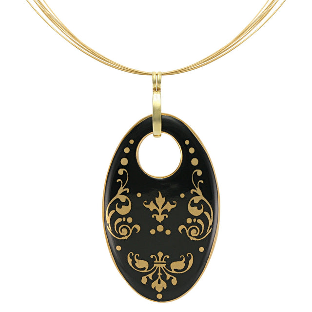 baroque black 21 k gold plated oval hand painted fine porcelain pendant 62 x 40 mm