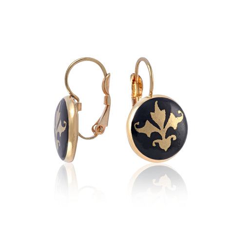 BAROQUE black gold plated clasp fine porcelain earring set