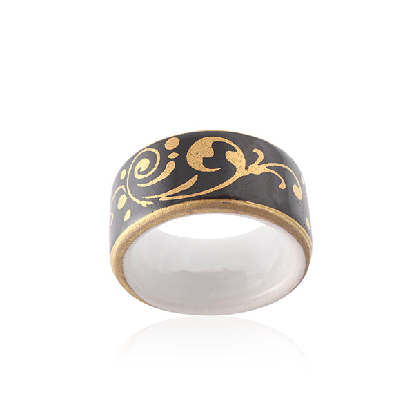 BAROQUE black gold plated fine porcelain ring