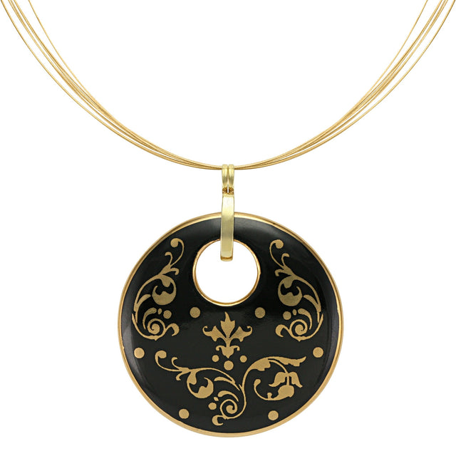 baroque black 21 k gold plated round hand painted fine porcelain pendant 52 mm