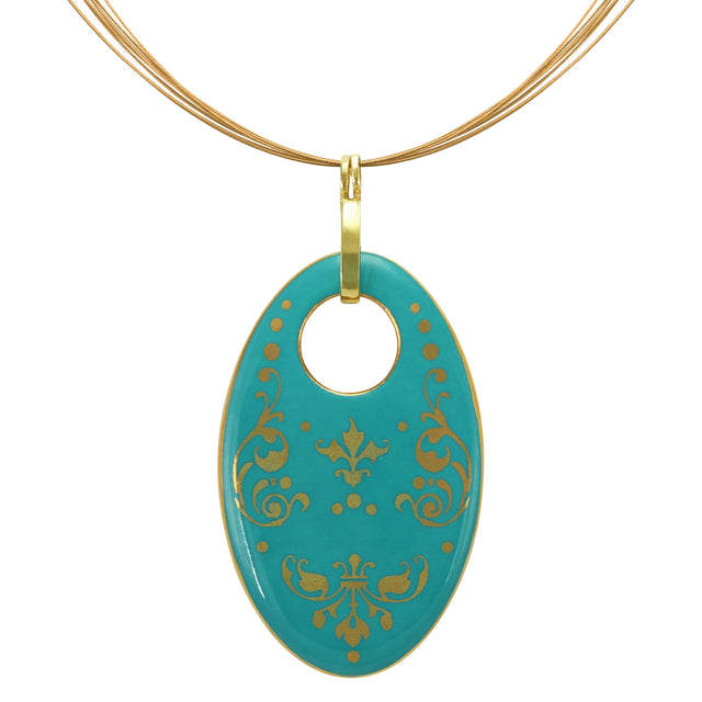 baroque mint green 21 k gold plated oval hand painted fine porcelain pendant 62 x 40 mm