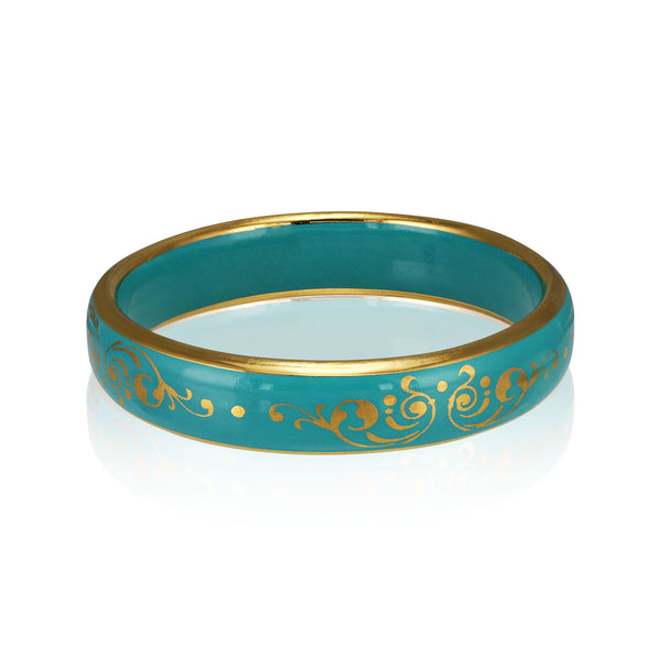 BAROQUE mint green gold plated fine porcelain bracelet