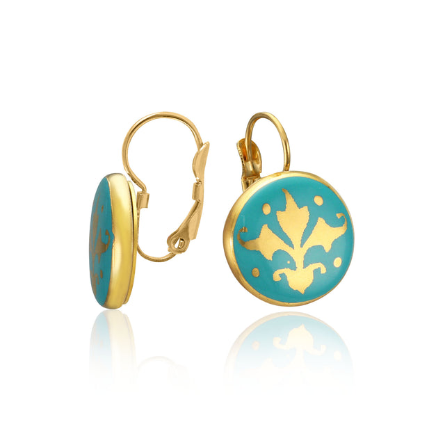 BAROQUE mint green gold plated fine porcelain clasp earring set
