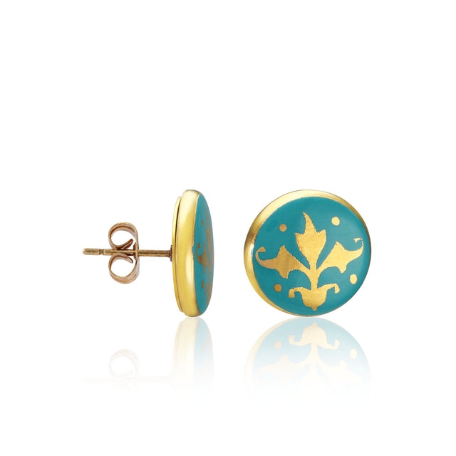 BAROQUE mint green gold plated fine porcelain earring set