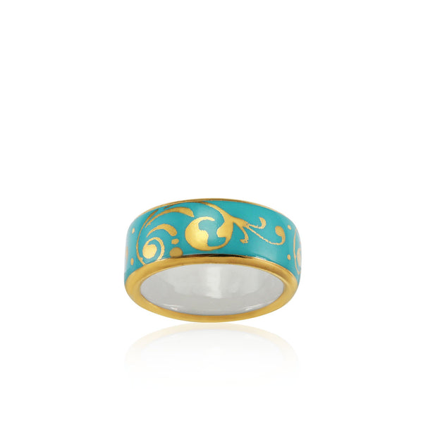 BAROQUE mint green gold plated fine porcelain ring