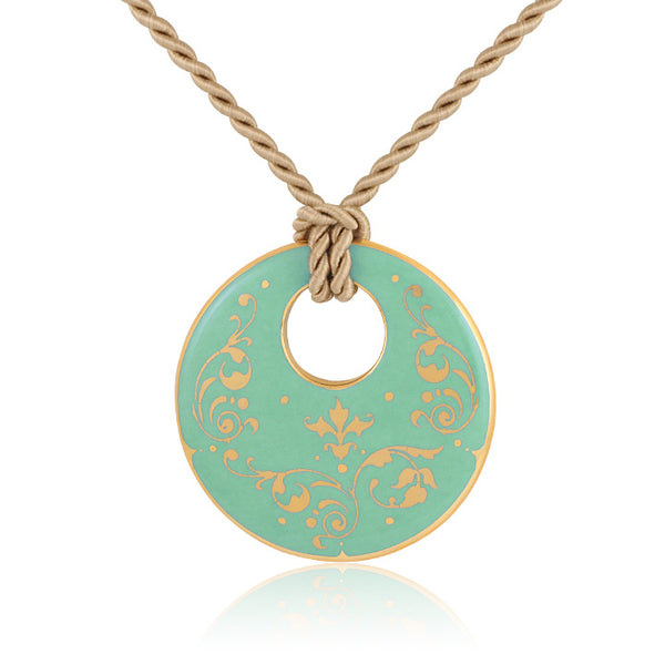 baroque mint green 21 k gold plated round hand painted fine porcelain pendant 52 mm
