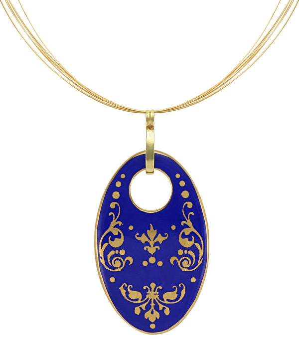 baroque royal blue 21 k gold plated oval hand painted fine porcelain pendant  62 x 40 mm