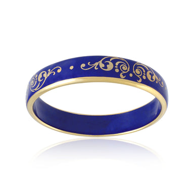 BAROQUE royal blue gold plated fine porcelain bracelet