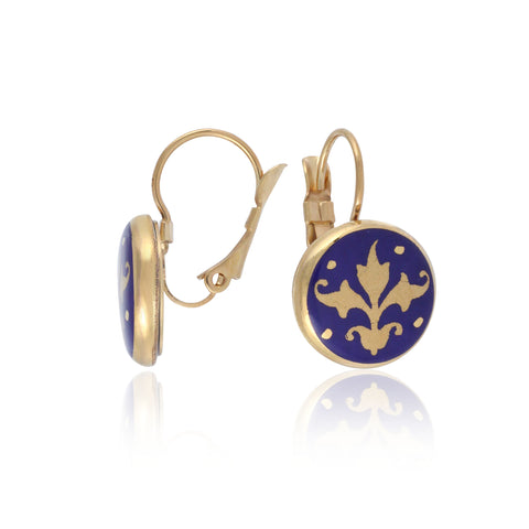 BAROQUE royal blue gold plated fine porcelain clasp earring set