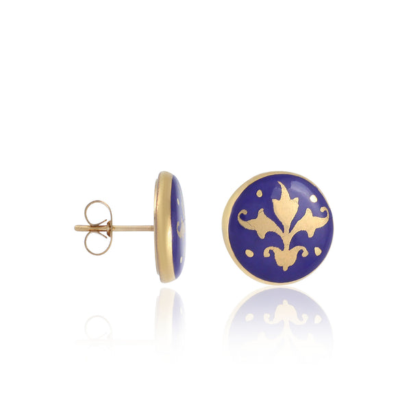 BAROQUE royal blue gold plated fine porcelain earring set