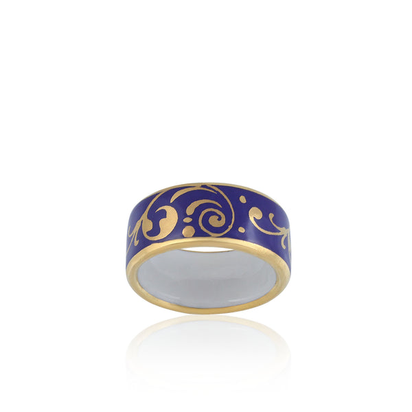 BAROQUE royal blue gold plated fine porcelain ring
