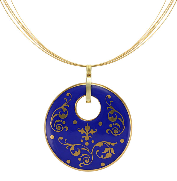 baroque royal blue 21 k gold plated round hand painted fine porcelain pendant 52 mm