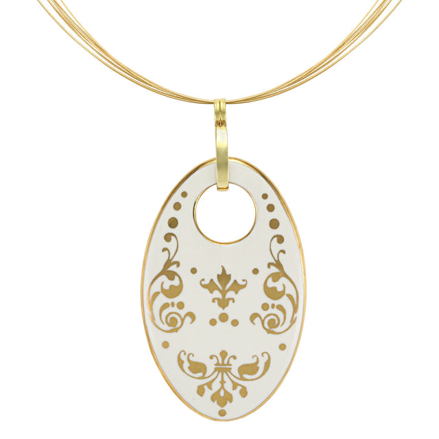 baroque white 21 k gold plated oval hand painted fine porcelain pendant 62 x 40 mm