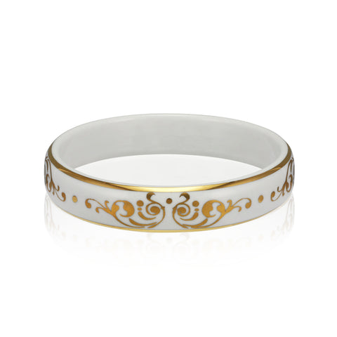 BAROQUE white gold plated fine porcelain bracelet