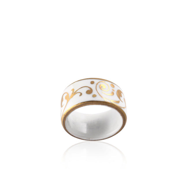 BAROQUE white gold plated fine porcelain ring