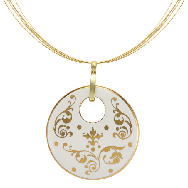 baroque white 21 k gold plated round hand painted fine porcelain pendant 52 mm