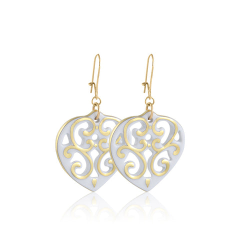 AERO white/gold plated heart fine porcelain earring set