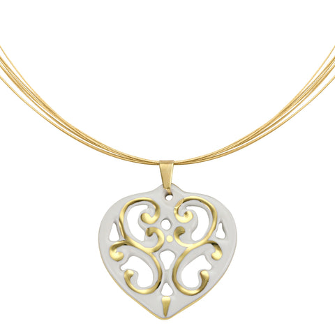 AERO white/gold plated heart fine porcelain pendant