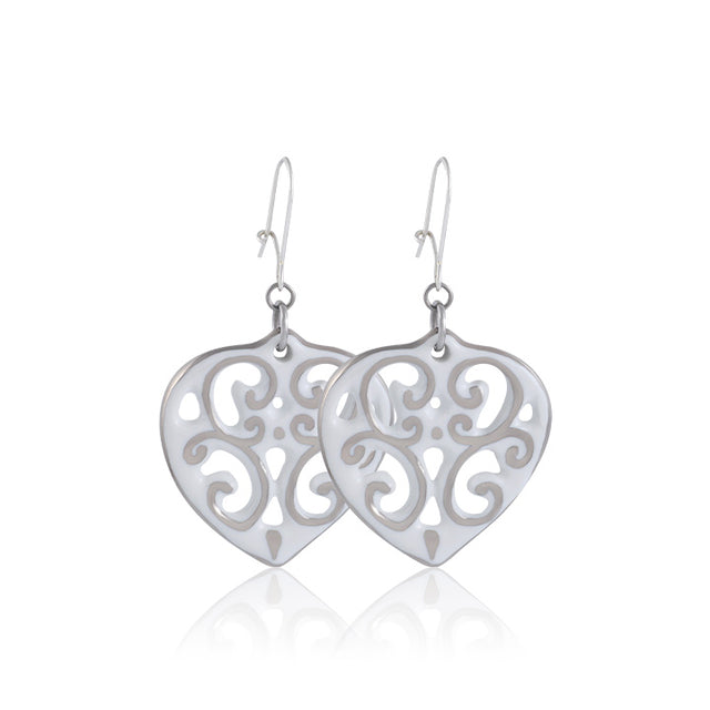 AERO white/platinum plated heart fine porcelain earring set