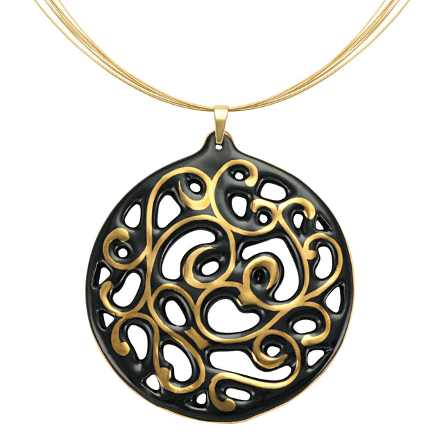 aero round black 21 k gold plated large hand painted fine porcelain pendant with necklace 60 mm