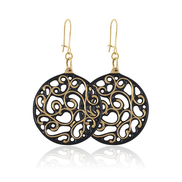 aero round black 21 k gold plated small hand painted fine porcelain dangle earring set 40 mm