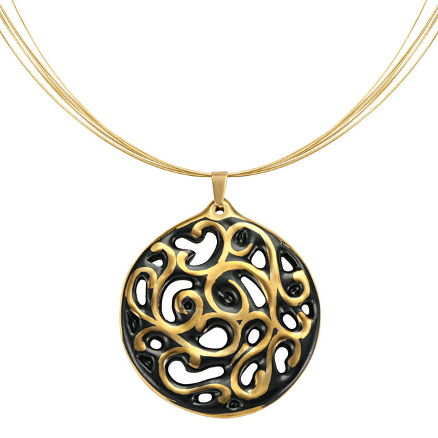 aero round black 21 k gold plated small hand painted fine porcelain pendant with necklace 40 mm