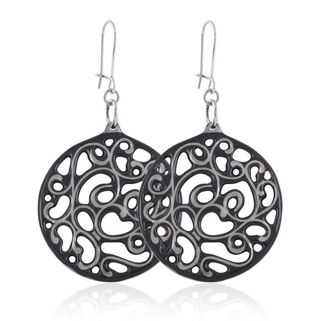 aero round black 23 k platinum plated large hand painted fine porcelain dangle earring set 60 mm
