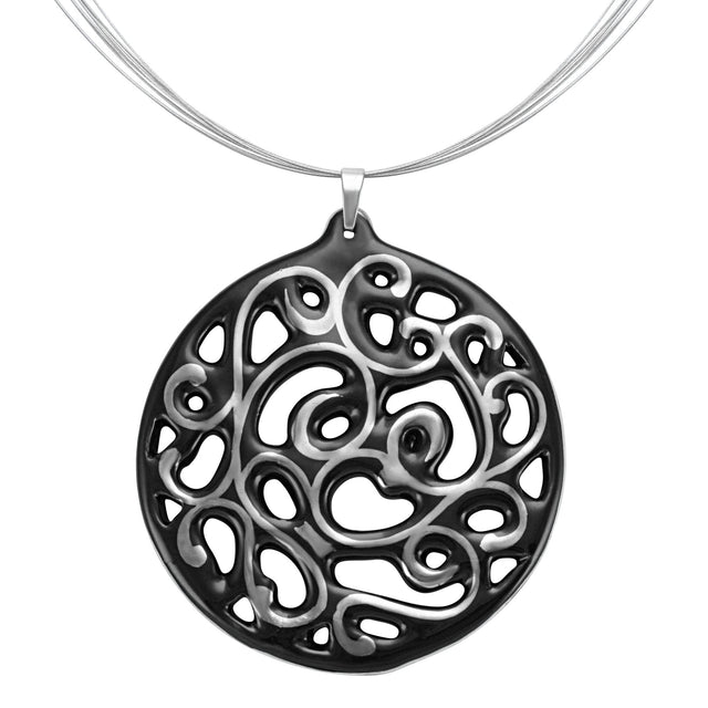 aero round black 23 k platinum plated large hand painted fine porcelain pendant with necklace 60 mm