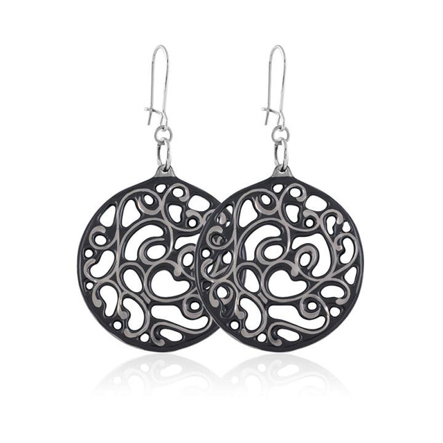 aero round black 23 k platinum plated small hand painted fine porcelain dangle earring set 40 mm