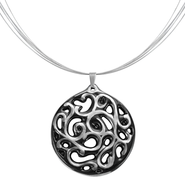 aero round black 23 k platinum plated small hand painted fine porcelain pendant with necklace 40 mm