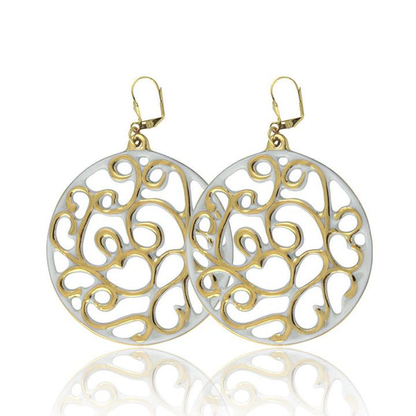 aero round white 21 k gold plated large hand painted fine porcelain dangle earring set 60 mm