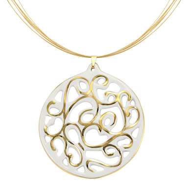 aero round white 21 k gold plated large hand painted fine porcelain pendant with necklace 60 mm