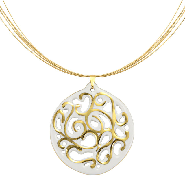 aero round white 21 k gold plated small hand painted fine porcelain pendant with necklace 40 mm