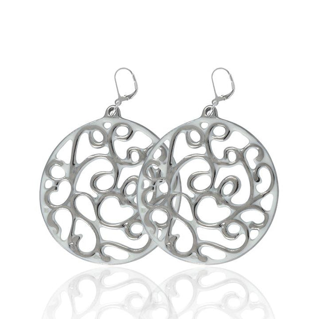 aero round white 23 k platinum plated large hand painted fine porcelain dangle earring set 60 mm