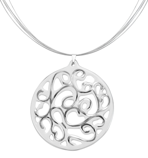 aero round white 23 k platinum plated large hand painted fine porcelain pendant with necklace 60 mm