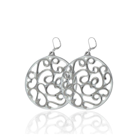 aero round white 23 k platinum plated small hand painted fine porcelain dangle earring set 40 mm