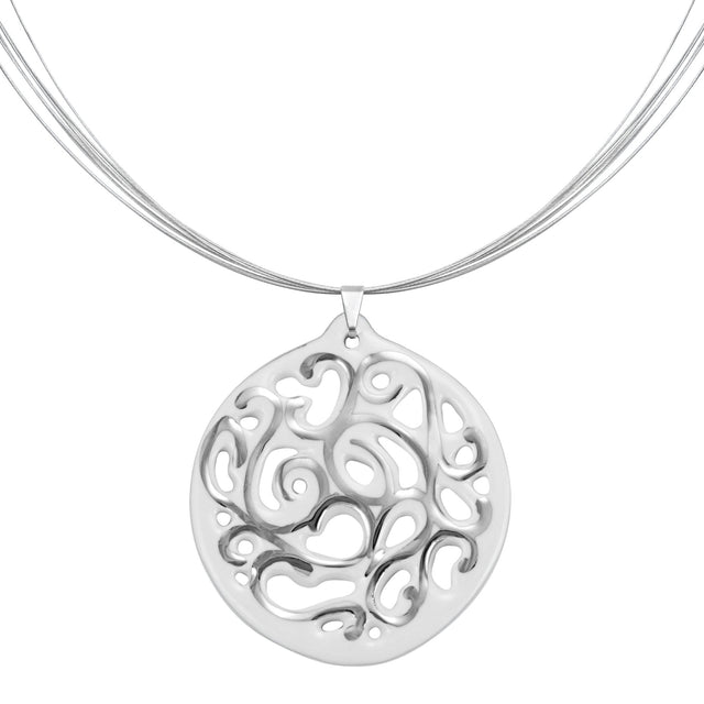 aero round white 23 k platinum plated small hand painted fine porcelain pendant with necklace 40 mm