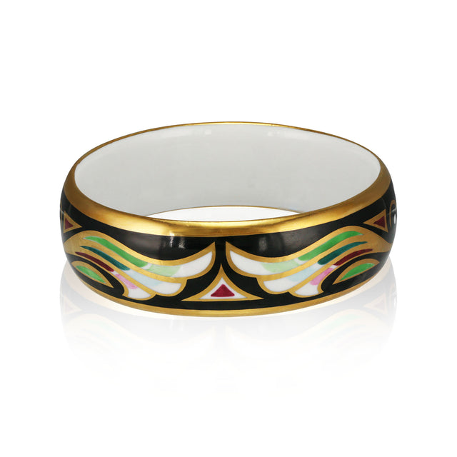 ART DECO gold plated green/black fine porcelain bracelet