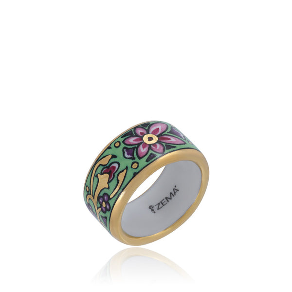 ART NOUVEAU gold plated green fine porcelain ring