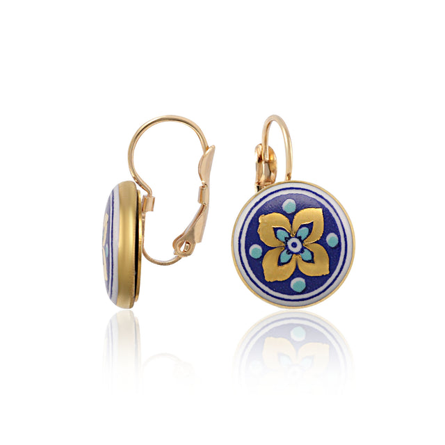 GOLD OF DESERT gold plated flowery blue fine porcelain dangle earring set
