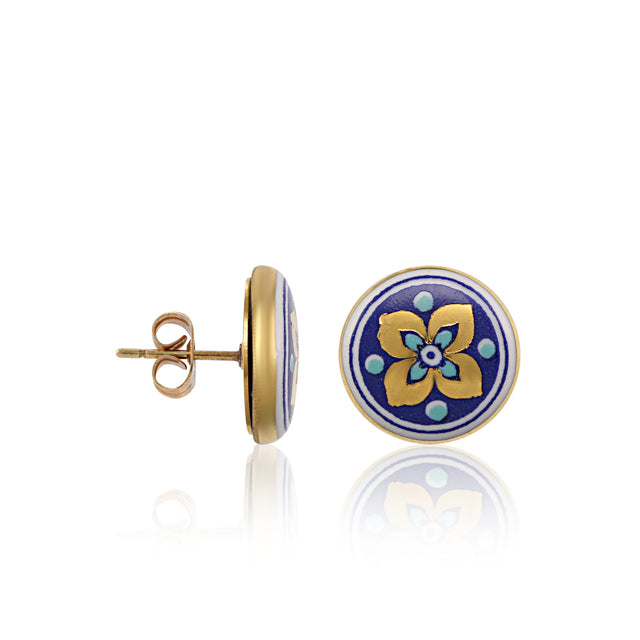 GOLD OF DESERT gold plated flowery blue fine porcelain spot earring set