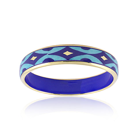 GOLD OF DESERT gold plated blue slim fine porcelain bracelet