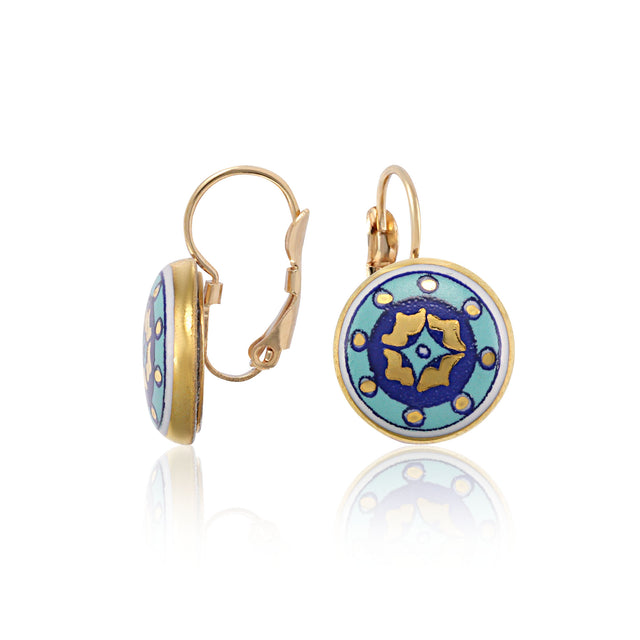 GOLD OF DESERT gold plated blue fine porcelain dangle earring set